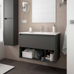 Noja Wall Hung Open Shelf 1 Drawer Vanity with 1 Taphole Basin