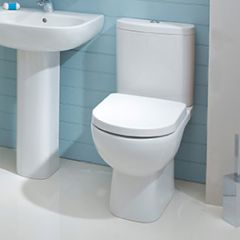 Amada Back to Wall Close Coupled Comfort Height Toilet with Soft Close Seat