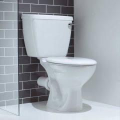 Atlas Smooth Close Coupled Toilet Pan & Seat (Lever)
