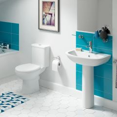 Atlas Smooth Close Coupled Toilet Pan, Geo Cistern and Seat