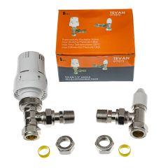 """Tevan 1/2"""" Angled Thermostatic Radiator Valve (TRV) & Lackshield Pack"""