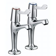 """Bristan High Neck Pillar Taps with 3"""" (76mm) Levers (Chrome)"""