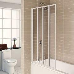 Aqualux 1400x840mm 4 Fold Bath Screen (White)