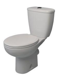 Atlas Smooth Close Coupled Toilet Pan, Cistern & Seat