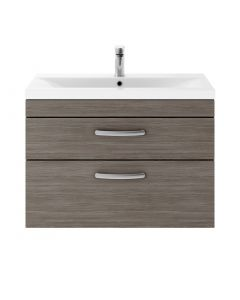 Crete 800mm Wall Hung 2 Drawer Vanity (Grey Avola) with 1 Taphole Basin