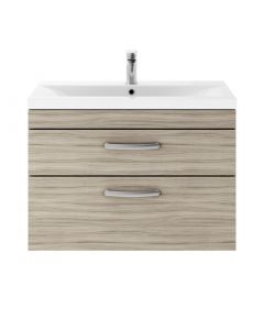 Crete 800mm Wall Hung 2 Drawer Vanity (Driftwood) with 1 Taphole Basin