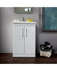 Maree 615mm Floor Standing 2 Door Vanity (White) with 1 Taphole Basin