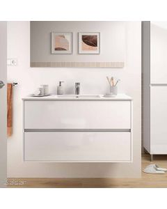 Salgar Noja 2 Drawer 1010mm Vanity Unit (Gloss White) and 1 Taphole Basin