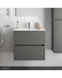 Salgar Noja 2 Drawer 610mm Vanity Unit (Matt Grey) and 1 Taphole Basin