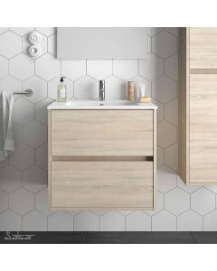 Salgar Noja 2 Drawer 610mm Vanity Unit (Oak) and 1 Taphole Basin