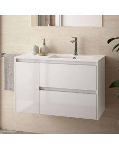 Salgar Noja Wall Hung 2 Drawer 1 Door 855mm Vanity Unit (Gloss White) and 1 Taphole Basin