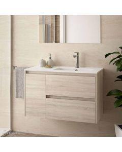 Salgar Noja Wall Hung 2 Drawer 1 Door 855mm Vanity Unit (Oak) and 1 Taphole Basin