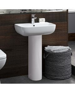Anna Thin Lipped 550mm 1 Taphole Square Basin and Full Pedestal