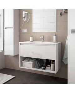 Salgar Noja 600mm Wall Hung 1 Drawer Open Shelf Vanity (White Gloss) with 1 Taphole Basin