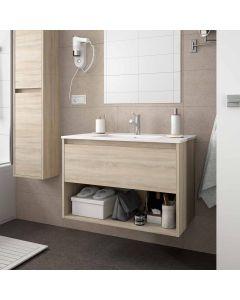 Salgar Noja 600mm Wall Hung 1 Drawer Open Shelf Vanity (Oak) with 1 Taphole Basin