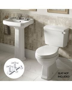 Roxton Close Coupled Toilet with 530mm Basin, Full Pedestal and Taps (Pair)