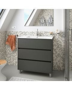 Salgar Arenys 810mm 3 Drawer Vanity Base Unit (Matt Grey)