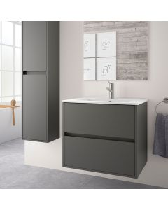 Salgar Noja 800mm 2 Drawer Vanity Base Unit (Matt Grey)