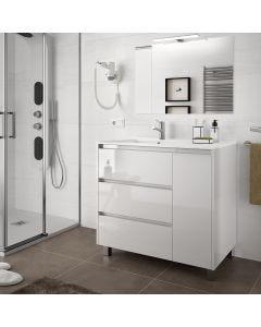 Salgar Arenys 855mm 3 Drawer, 1 Door Vanity Base Unit (Gloss White)