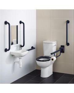 Armitage Shanks Contour 21 Doc M Pack with Blue Rails, Close Coupled Toilet and Right Hand Basin