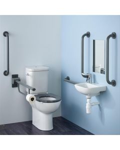 Armitage Shanks Contour 21 Doc M Pack with Charcoal Rails, Close Coupled Toilet and Right Hand Basin
