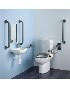 Armitage Shanks Contour 21 Doc M Pack with Grey Rails, Close Coupled Toilet and Left Hand Basin