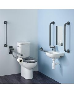 Armitage Shanks Contour 21 Doc M Pack with Grey Rails, Close Coupled  Toilet and Right Hand Basin