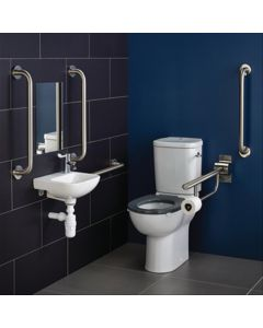 Ideal Standard Contour 21 Doc M Pack with Stainless Steel Rails, Close Coupled Toilet and Left Hand Basin