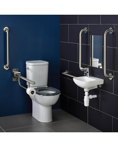 Ideal Standard Contour 21 Doc M Pack with Stainless Steel Rails, Close Coupled Toilet and Right Hand Basin