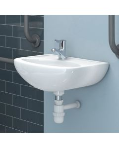 Doc M Less Abled 45cm One Taphole Left Hand Basin (No overflow)