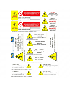 Solar Photovoltaic Safety Label Sheet