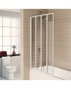 Aqualux 4 Fold Bath Screen (White)