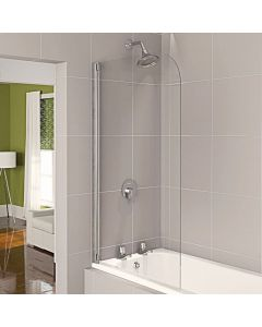 Aqualux Half Framed Clear Glass Bath Screen (White)