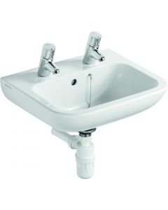 Portman 21 Basin 50cm White with Overflow, 2 Tapholes & Chain