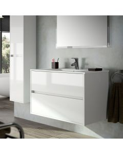 Noja 700mm 2 Drawer Vanity Base Unit (Gloss White)