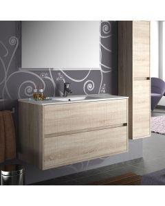 Noja 900mm 2 Drawer Vanity Base Unit (Oak Caledonia)